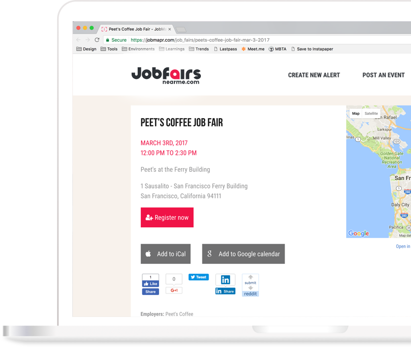 Laptop with JobFairsNearMe.com website